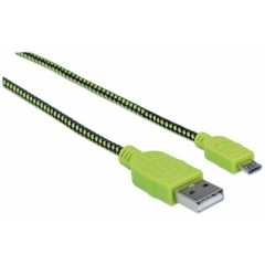 Manhattan Pop Braided Micro-USB Kabel grün-schwarz