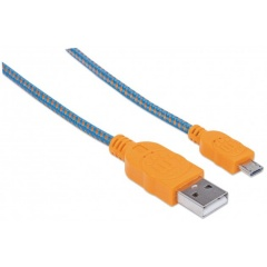 Manhattan Pop Braided Micro-USB Kabel orange-blau